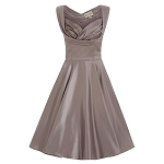 Ophelia Grey Mink Satin 'Look' Swing Dress